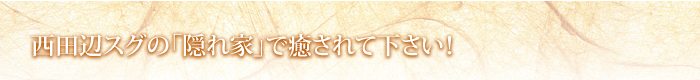 西田辺スグの「隠れ家」で癒されて下さい!